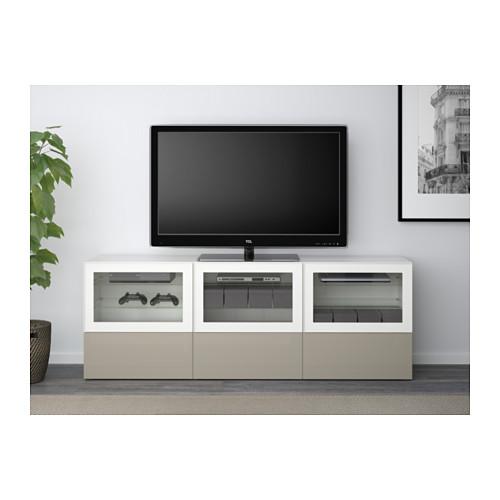 BESTÅ mueble TV con 3 puertas de cristal y 3 gavetas