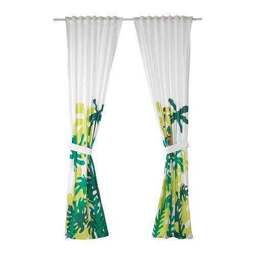 DJUNGELSKOG cortinas con alzapaños, 1par