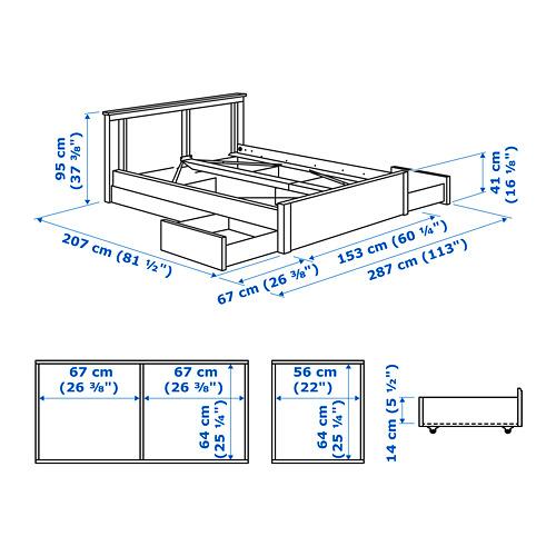 SONGESAND cama 140, estructura con 4 cajones y somier de láminas reforzadas lönset