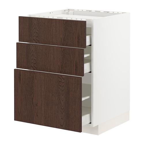 METOD/MAXIMERA armario bajo placa 3cajones3frentes