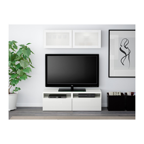 BESTÅ combinación mueble de TV con 2 cajones y mueble suspendido a la pared con 2 puertas de cristal
