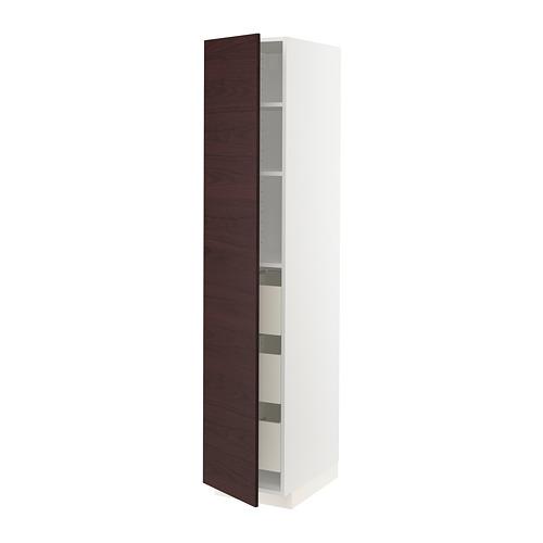 METOD/MAXIMERA armario alto cocina con puerta, cajones y estantes