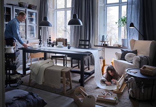 NORDVIKEN/NORDVIKEN mesa extensible con 6 sillas, máximo extensión 289cm