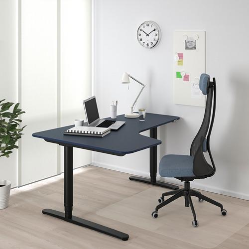 BEKANT escritorio esquina  izquierda, sentado/pie,  160x110cm, patas regulables con motor