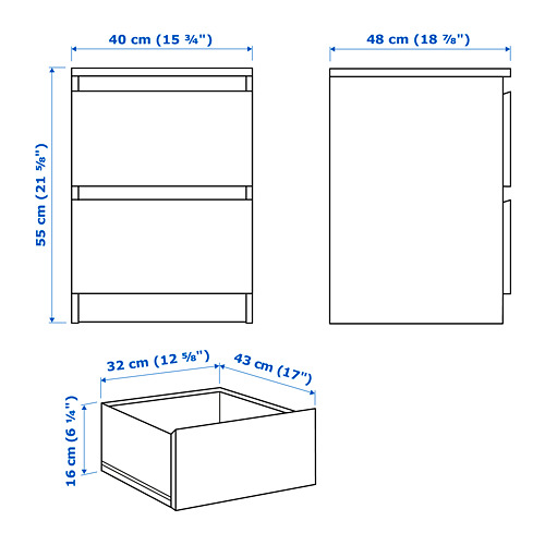 MALM cómoda vertical de 2 cajones