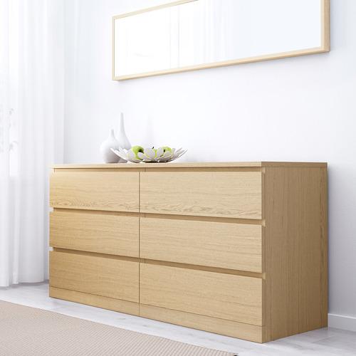 MALM cómoda horizontal 6 cajones, 160x48x78cm