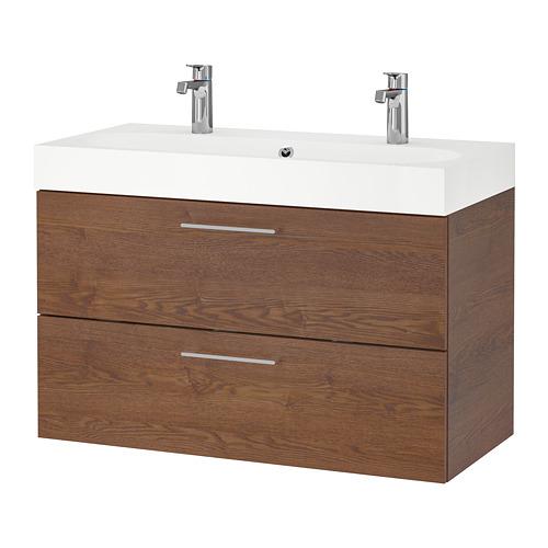 BRÅVIKEN/GODMORGON mueble de baño para lavabo con 2 cajones, 100x49x68cm