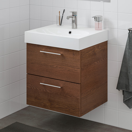 BRÅVIKEN/GODMORGON mueble de baño para lavabo con 2 cajones, 61x49x68cm