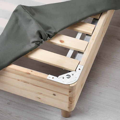 ESPEVÄR somier de láminas con funda gris oscuro, patas y colchón+colchoncillo, 160cm