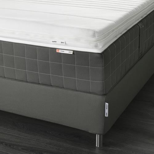 ESPEVÄR somier de láminas con funda gris oscuro, patas y colchón+colchoncillo, 180cm
