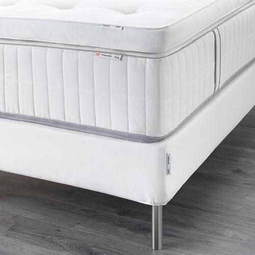 ESPEVÄR somier de láminas con funda blanca,patas y colchón+colchoncillo, 140cm