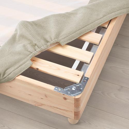 ESPEVÄR somier de láminas con funda natural y patas, 140cm
