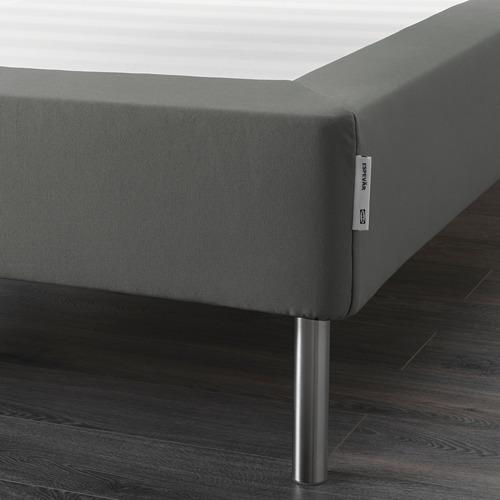ESPEVÄR somier de láminas con funda gris oscuro y patas, 160cm