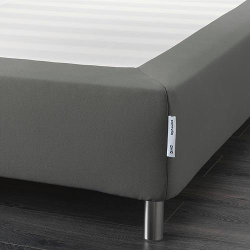 ESPEVÄR somier de láminas con funda gris oscuro y patas, 140cm