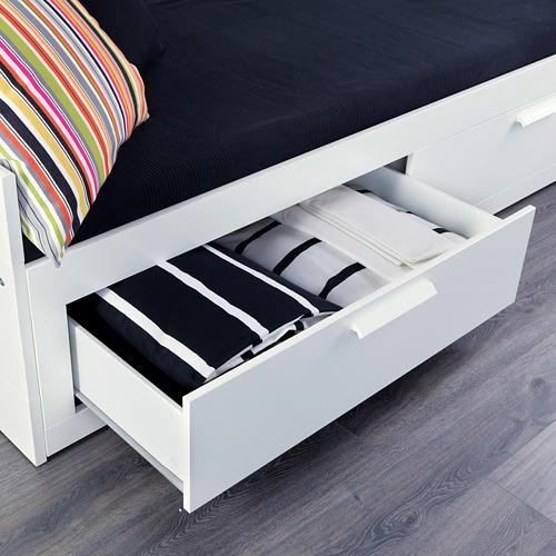 BRIMNES diván con 2 cajones y 2 colchones, 80cm
