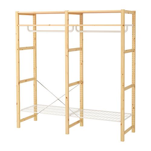 IVAR Estantería, 2 secciones con rieles y estantes, 174x50x179cm