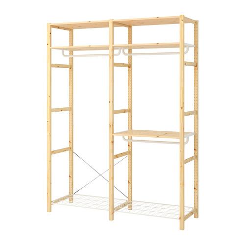 IVAR Estantería, 2 secciones con estantes y barras, 174x50x226cm