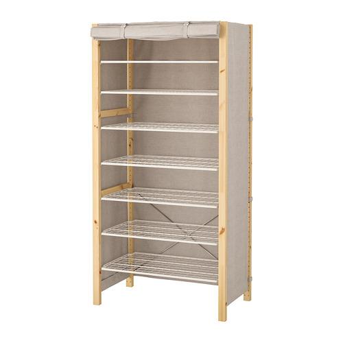 IVAR Estantería, 1 sección con estantes y funda, 89x50x179cm