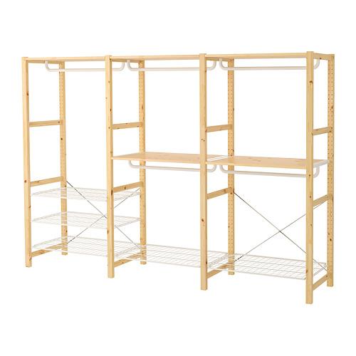 IVAR Estantería, 3 secciones con estantes y rieles, 259x50x179cm
