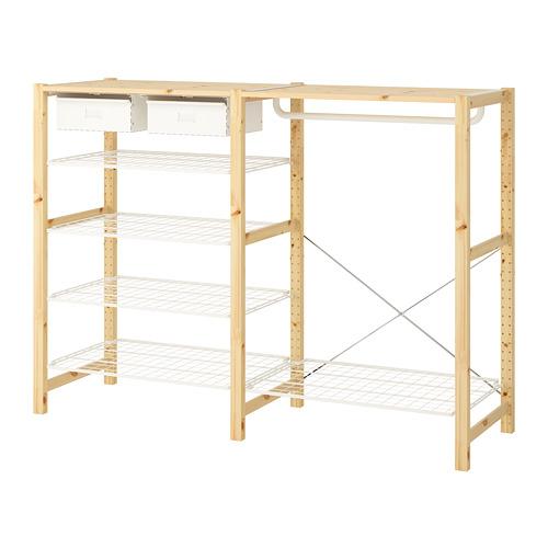 IVAR Estantería, 2 secciones con riel, estantes y cajones, 174x50x124cm