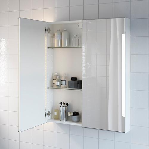 STORJORM armario pared baño con puertas espejo e iluminación integrada