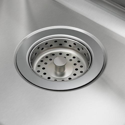 VATTUDALEN fregadero encastrado 2 senos con escurridor, incluye filtro/sifón