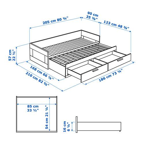 BRIMNES estructura diván con 2 cajones