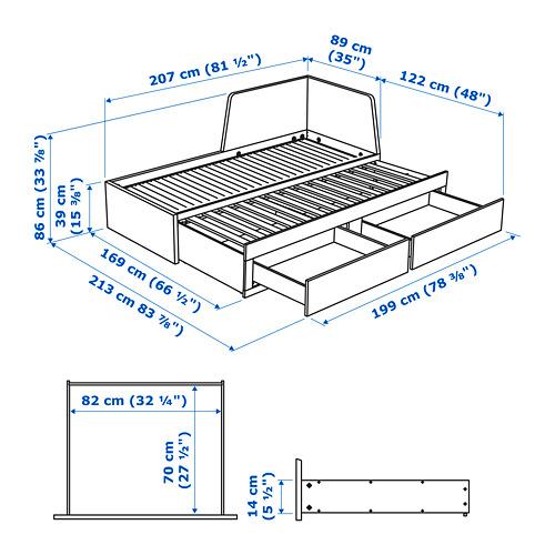 FLEKKE estructura diván con 2 cajones