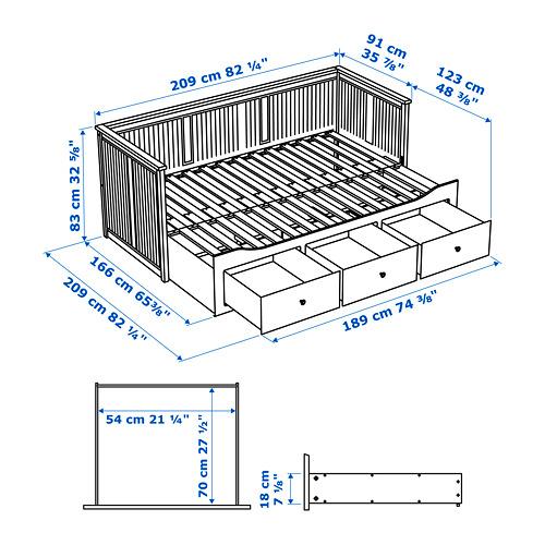 HEMNES diván con 3 cajones y 2 colchones, 80cm