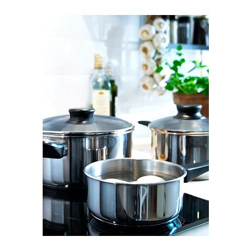 ANNONS batería de cocina, incluye: cacerola de 0,9L, cacerola con tapa de 1,7L y olla con tapa de 2,8L.