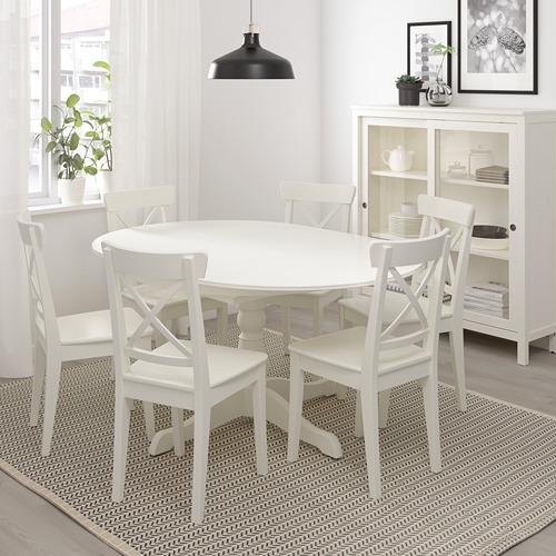 INGATORP mesa extensible redonda, diámetro 110cm  y abierta 155cm