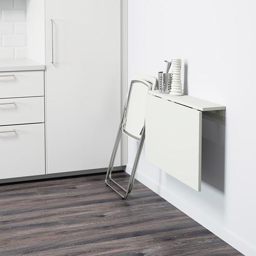 NISSE/NORBERG mesa plegable a la pared con 1 silla, 74x60cm