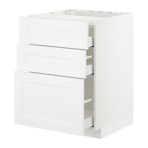 METOD armario bajo para placa 3 cajones