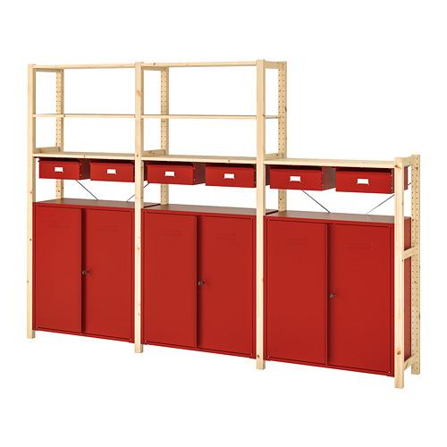 IVAR Estantería, 3 secciones con  estantes,  cajones y  armarios ,  259x30x179cm