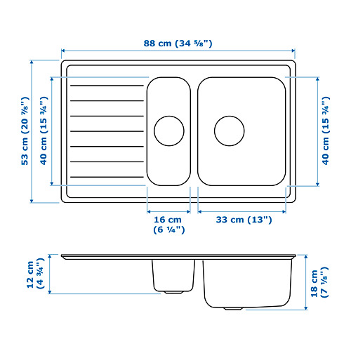 VATTUDALEN fregadero  encastrado 1½ senos con escurridor, incluye filtro/sifón