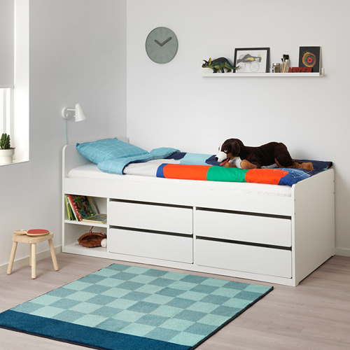 SLÄKT estructura de cama con 4 cajones y somier, 90cm