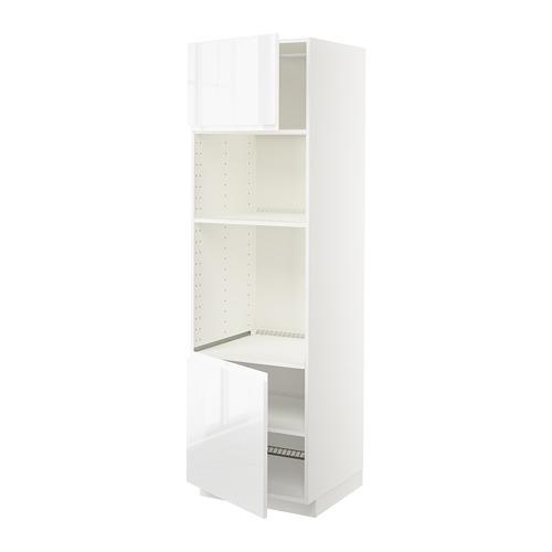 METOD armario torre para horno y microondas con 2 puertas y 2 estantes