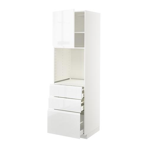 METOD/MAXIMERA armario torre para horno con 1 estante, 1 puerta y 3 cajones