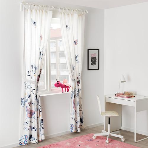 SÅNGLÄRKA cortinas  con alzapaños, 1par