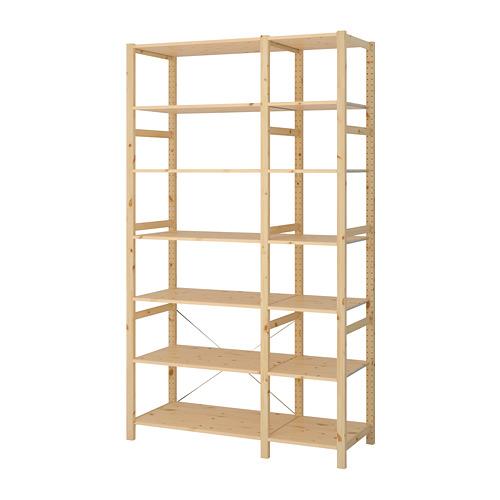 IVAR Estantería, 2 secciones con estantes, 134x50x226cm