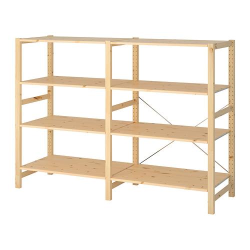 IVAR Estantería, 2 secciones con estantes, 174x50x124cm