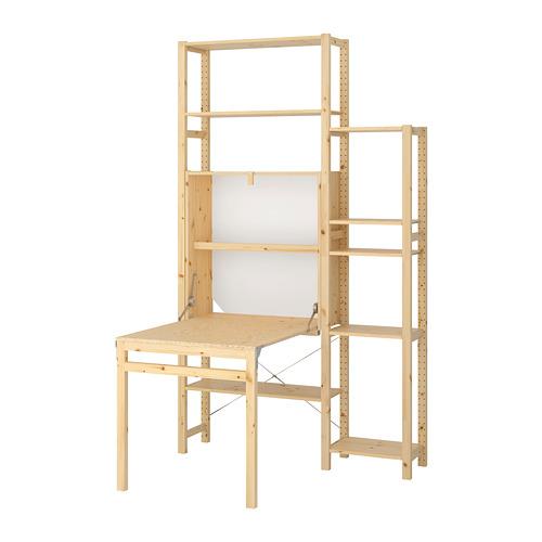 IVAR  Estantería, 2 secciones con estantes y mesa plegable, 134x30y104x226cm