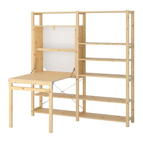 IVAR Estantería, 2 secciones con estantes y mesa plegable, 175x30y104x179cm