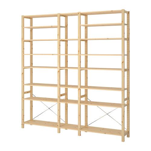 IVAR Estantería, 3 secciones con estantes, 219x30x226cm