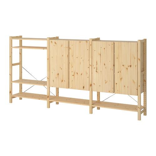 IVAR Estantería, 3 secciones con estantes y armarios, 259x30x124cm