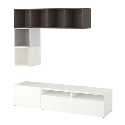 BESTÅ/EKET Mueble modular de tv con cajones y puerta combinado con estanterías cubo a la pared