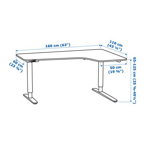 BEKANT escritorio esquina  derecha, sentado/pie,  160x110cm, patas regulables con motor