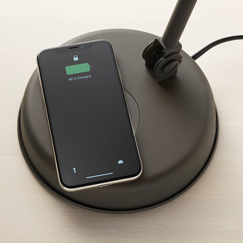 HEKTAR Lampara flexo de trabajo con puerto USB y cargador inalámbrico