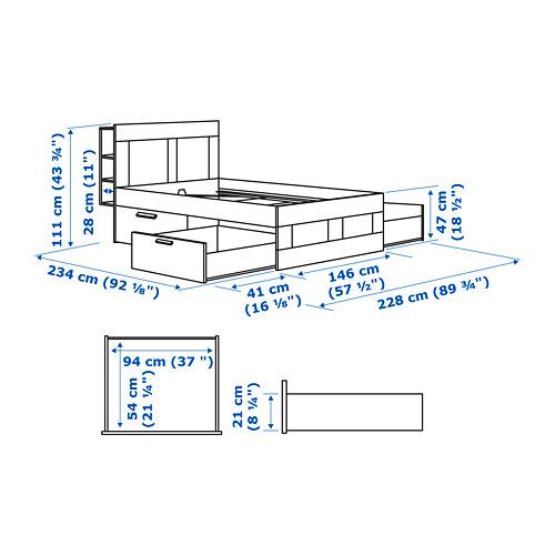 BRIMNES Cama 140, estructura con cabecero, almacenaje y somier de láminas LURÖY