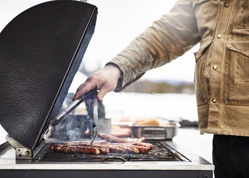 GRILLSKÄR estantería con barbacoa de carbón